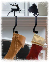 Wrought Iron Stocking Holders and Mantel Hooks