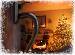 Decorative Holiday Scene with Wrought Iron Accents