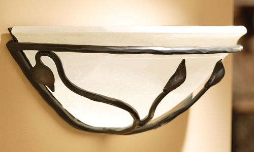 Timeless Wrought Iron - Leaf Wall Sconce