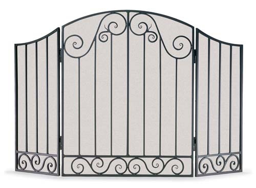 Wrought Iron Fireplace Screen - 3 Panel Vienna Arch
