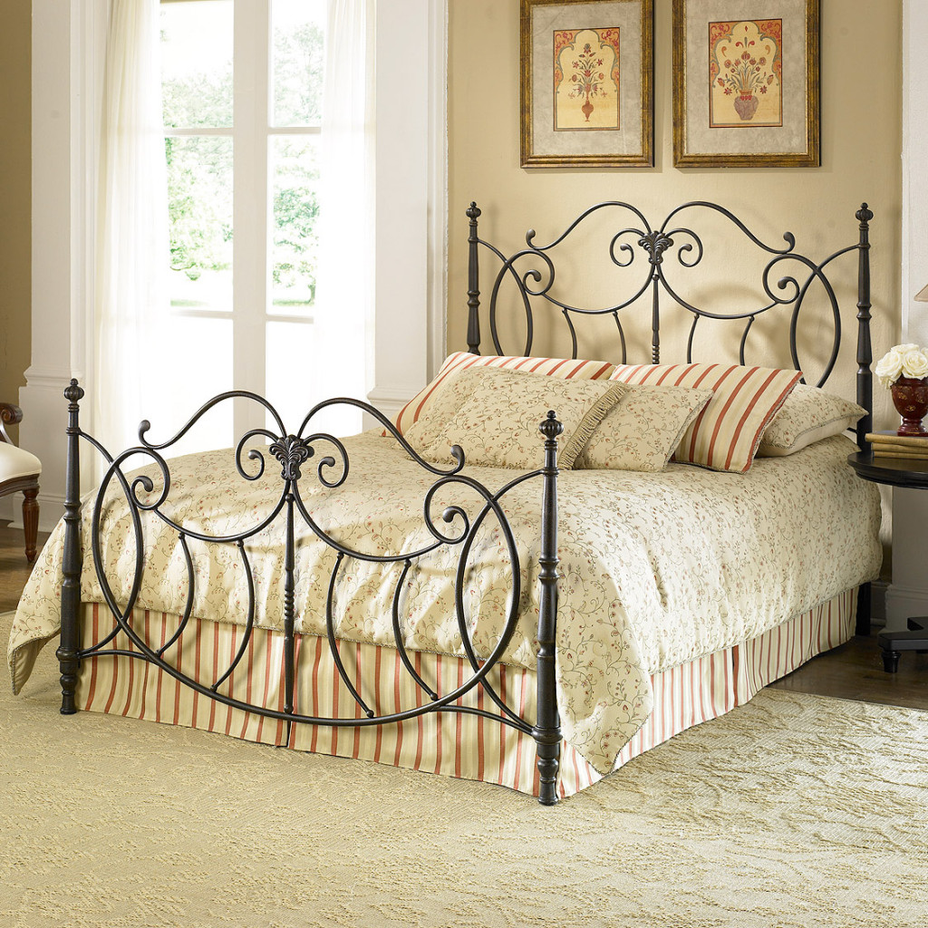 Romance the bedroom with a decorative wrought iron bed for Iron bedroom furniture