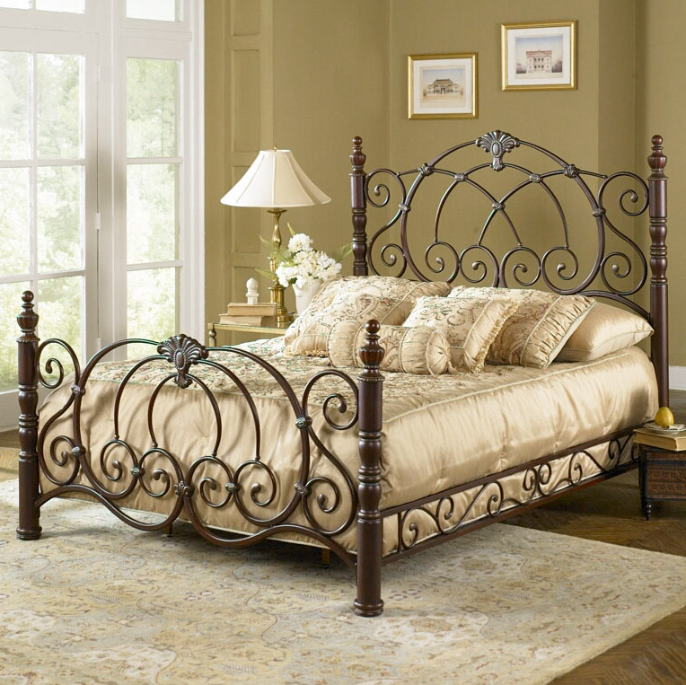 Romance the bedroom with a decorative wrought iron bed for Metal bedroom furniture