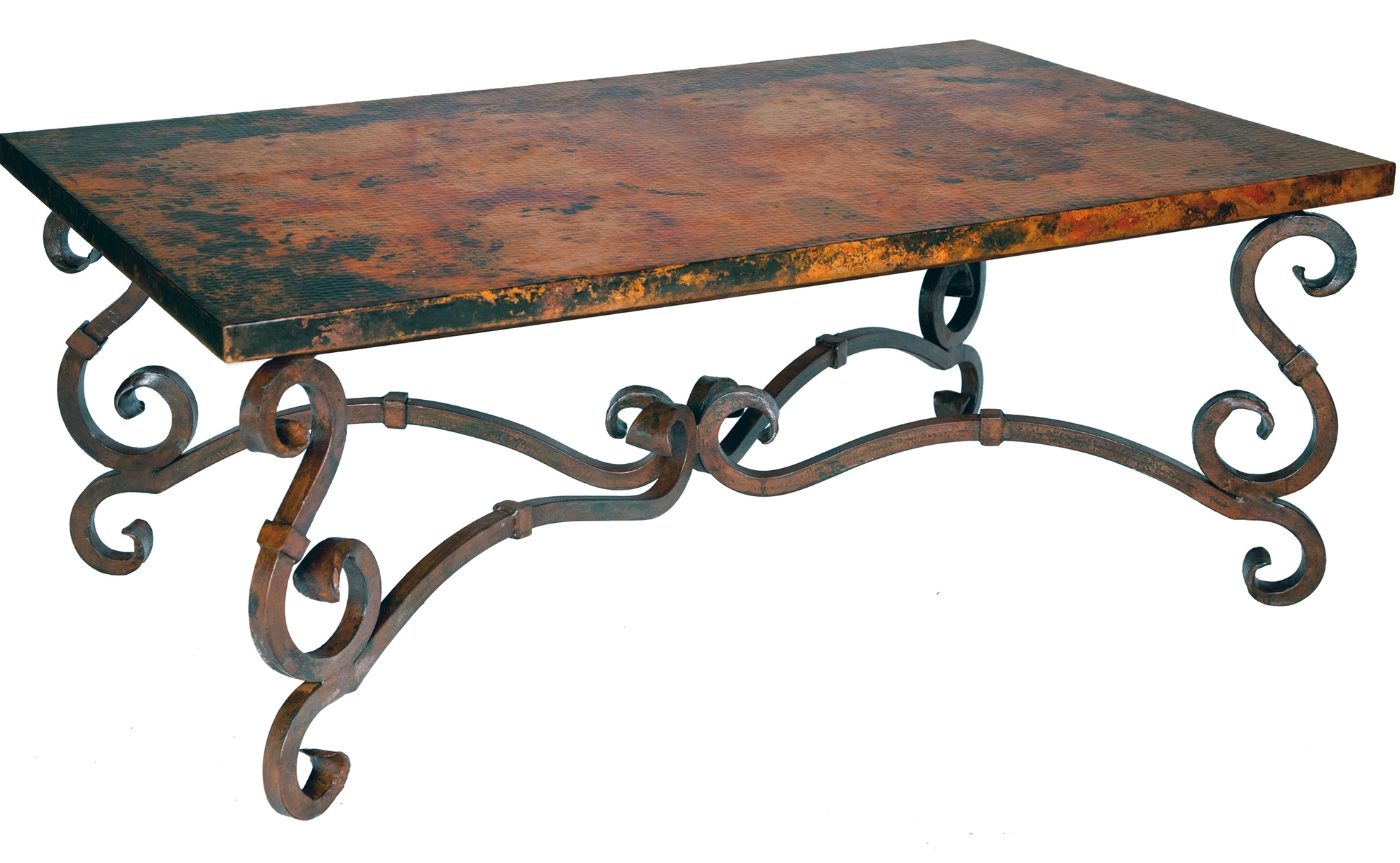 Rot Iron Furniture. Prima French Cocktail Table With Rectangle Copper Top  Rot Iron Furniture