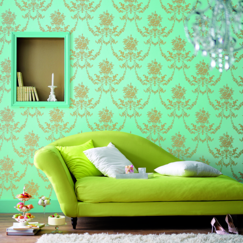 10 divine damask wallpapers for every room for Black and white damask chaise lounge