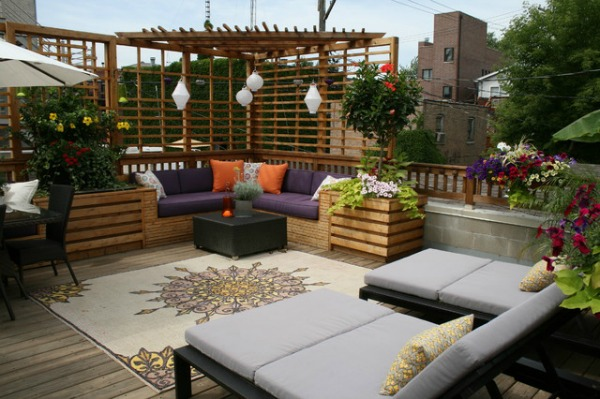 This Terrace Comes Alive With Sassy Purple And Orange Accents When Set  Against Natural Woods.