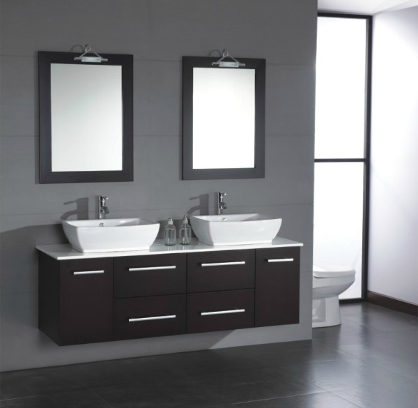 For modern bathrooms, two matching glass or stone vessel sinks set ...