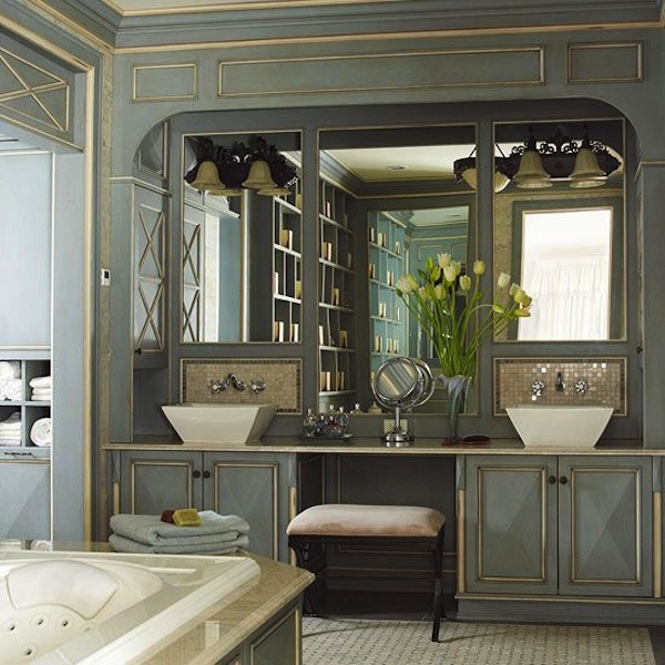 Get the look double bathroom sink vanities artisan crafted iron furnishings and decor blog for Pictures of bathrooms with double sinks