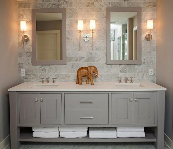 Sleek And Contemporary Is The Style Of This Freestanding Gray Double Sink Vanity Matching Mirrors With Marble Floor Backsplash It S A Beautiful