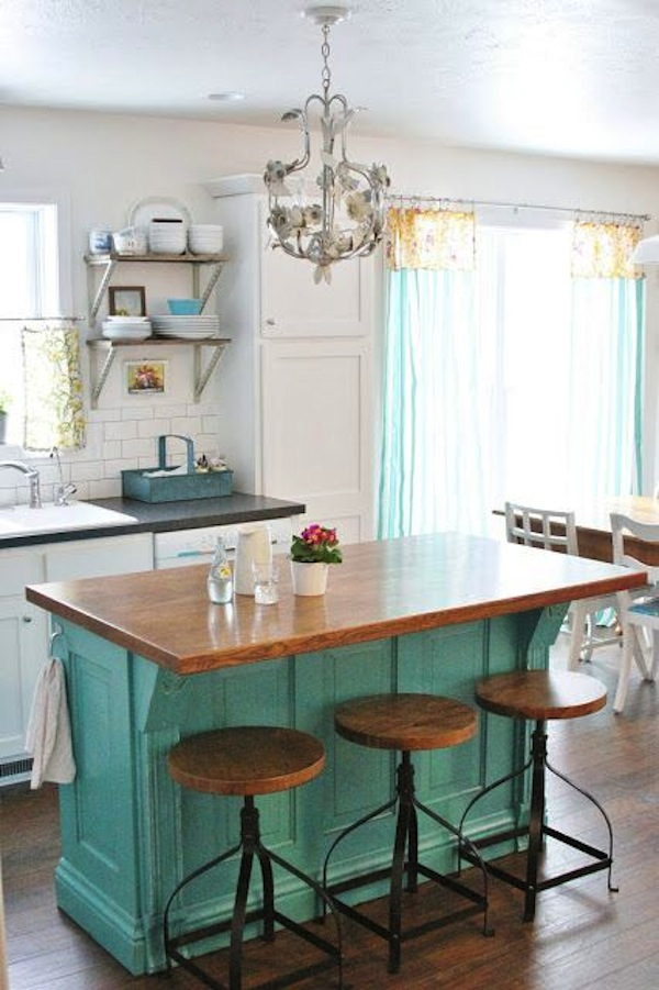 A Vintage Kitchen With Small Center Island Is The Ideal Spot For Industrial  Style Swivel Bar Stools Of Metal And Wood. What A Harmonious Pairing!