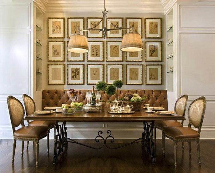 10 clever banquette side chair ideas tips for Decorative pictures for dining room