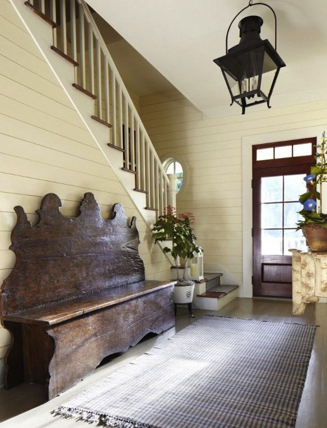 Get the look benches in the entry for Country foyer ideas
