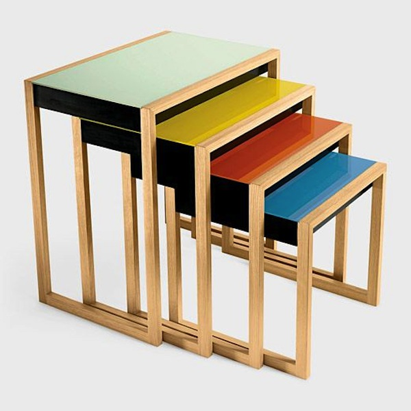 Modern history bauhaus nesting tables for Small stackable coffee tables
