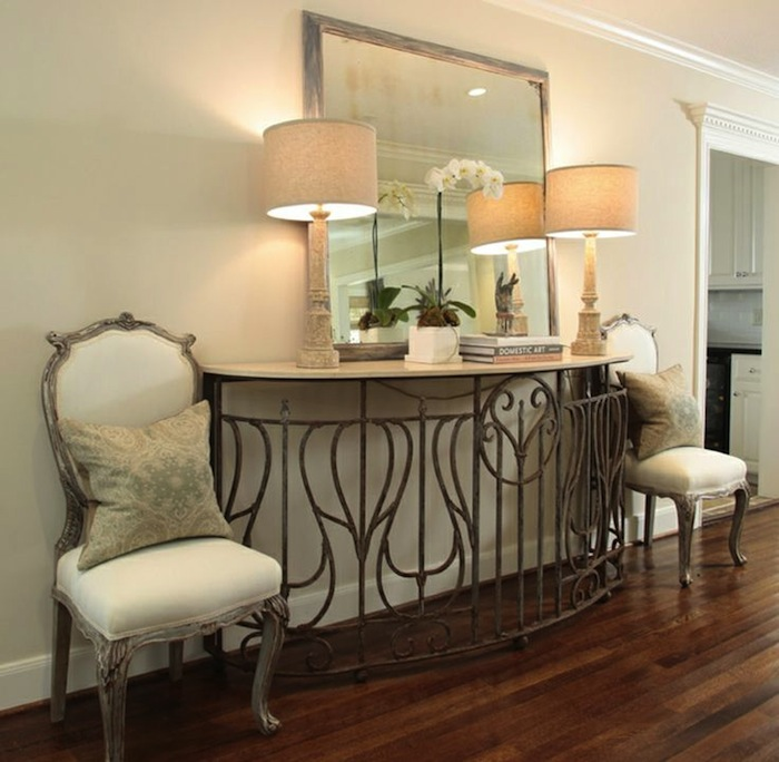 Metal Foyer Table Mirror : Create impact with console tables in the entry artisan