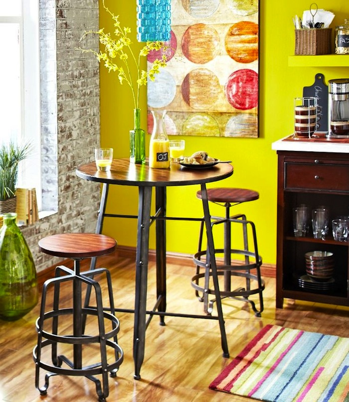 An Industrial Style Bar Table Or Counter Height Table, Along With Bright  Paint And Colorful Wall Art, Can Turn A Kitchen Corner Into A Cheerful  Dining Spot.