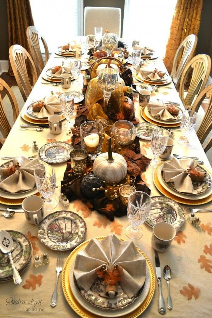 20 thanksgiving dining table setting ideas artisan - Thanksgiving dinner table decorations ...