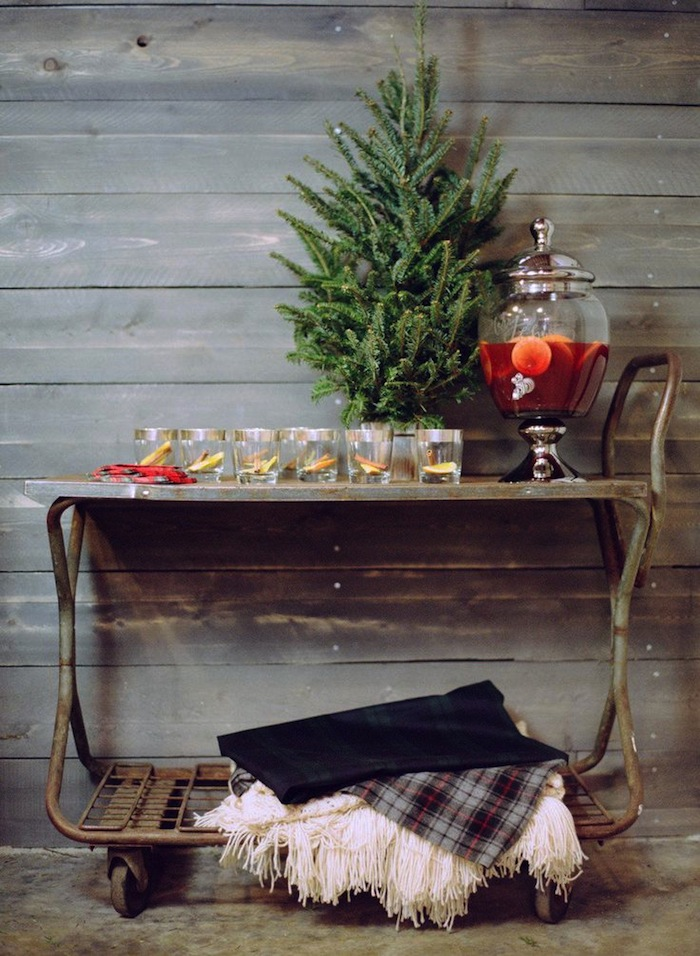 Rustic Holiday Bar Cart