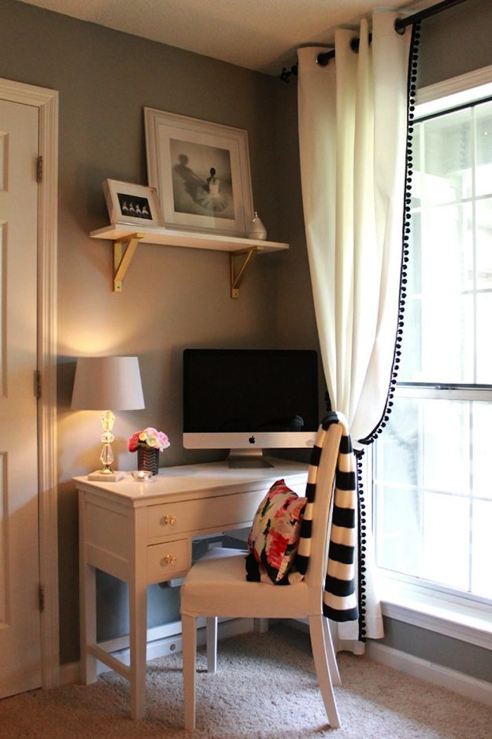 A Tiny Corner Space Is Just Right For This Wooden Desk And Chair Single Shelf With Gold Painted Metal Brackets In Gray White Bedroom
