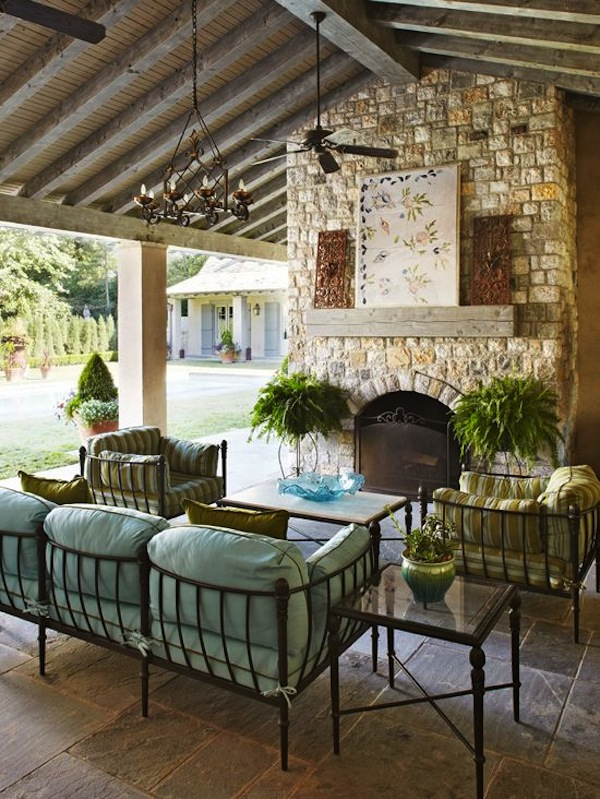 Outdoor seating sofas more artisan crafted iron - Covered outdoor living spaces ...