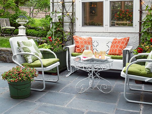 Vintage Glider. Refurbished White Metal Chairs And Porch ...