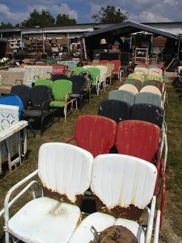 A Flea Market Offers Rows And Rows Of Vintage Porch Gliders And Other  Seating Treasures.