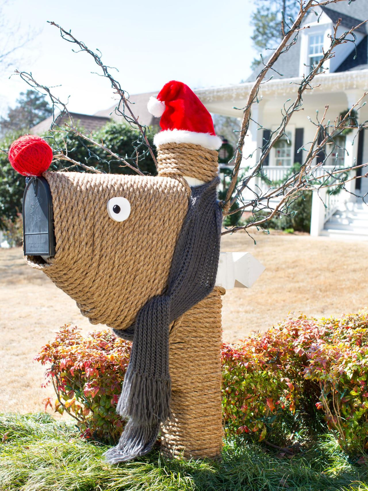quirky and cute big and little kids alike are sure to adore this reindeer design rope wound around a mailbox frame and base creates the body of the - Christmas Mailbox Decorations Ideas